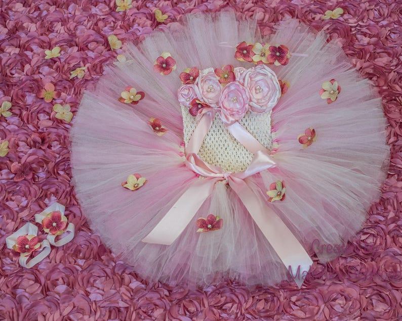 1306dfaddc Cake Smash Outfit Cream Pink Baby Girl Tutu Tube Top Headband