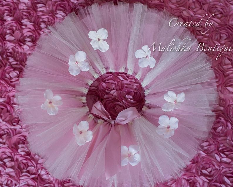 14593db0c5e61 Tutu fleur crème mauve bébé fille premier anniversaire gâteau