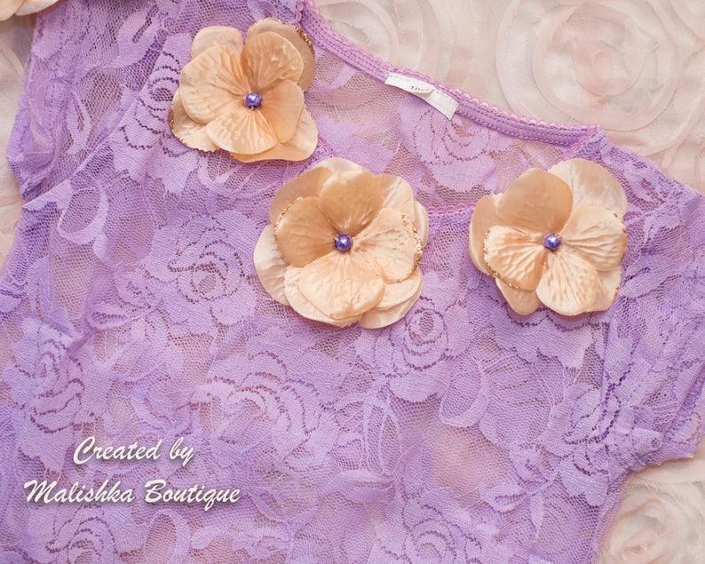 first birthday set Baby Girl Cake Smash Outfit Lavender Gold Flower Tutu 6 month photos Lace Onesie Bodysuit Headband Barefoot Sandals