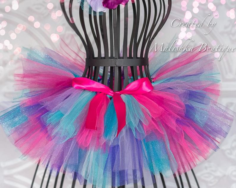 7efbb1ec9 Hot Pink Turquoise Purple Tutu Layered full baby girl tulle | Etsy