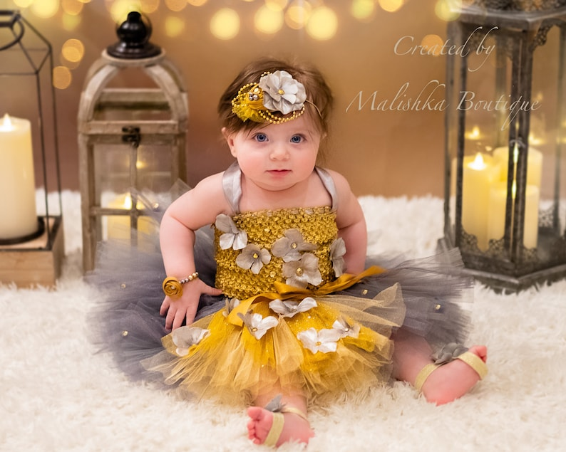 Christmas Beauty Pageant Outfits.Baby Girl Tutu Outfit Gold Gray Silver First Christmas Dress Fabric Headband Metallic Shiny Flowers Rhinestones Beauty Pageant Winter