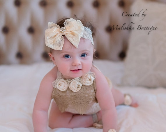 Handmade White baby bow hair band for baptism christening flower girl lace bow