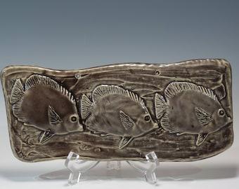 Hand Built Ceramic Fish Tile Ceramic Wall Hanging Decorative Ceramic Tile Fish Wall Hanging Bas Relief Tile Decorative Ceramic Fish Tile