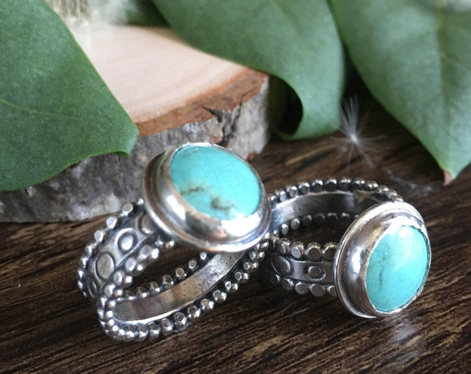 Size 6 Turquoise and Sterling Silver Ring