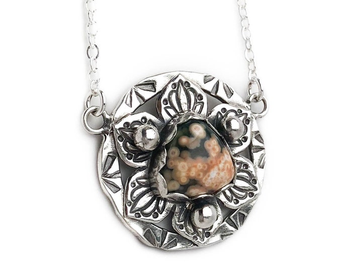 Ocean Jasper Stamped Lotus Flower Necklace
