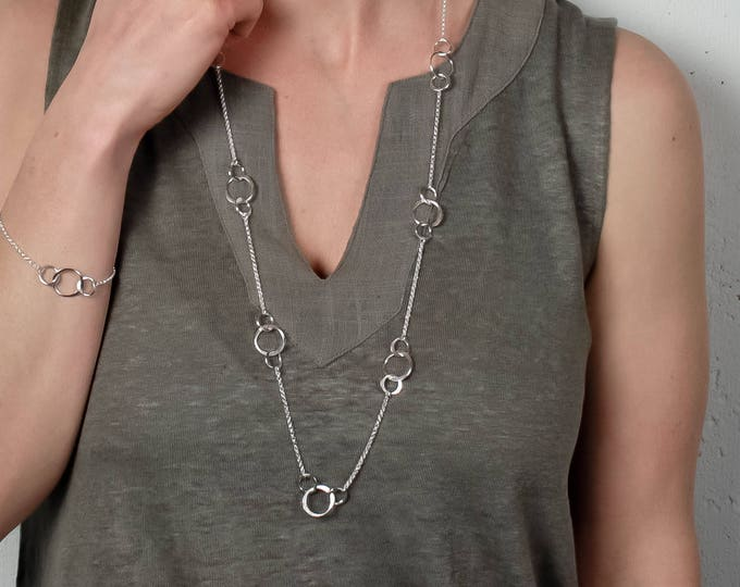 Circle Stations Long Necklace