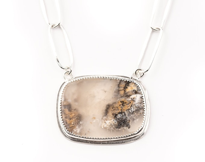 Dendritic Agate Pendant with Handmade Sterling Silver Chain