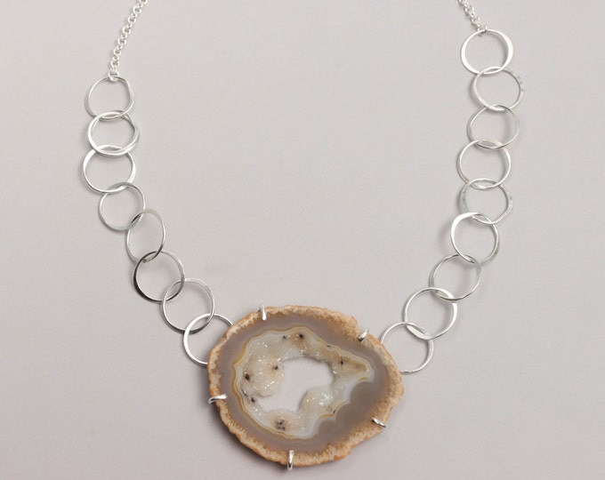 Agate Slice Silver Statement Necklace