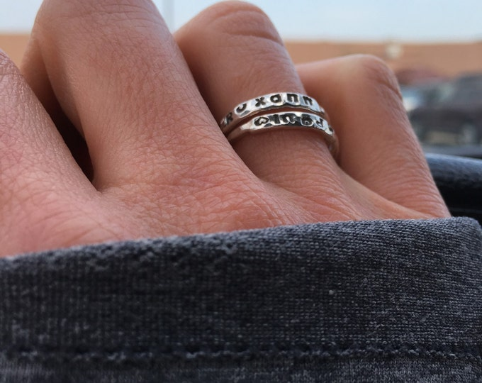 Tapered Stacking Name Ring