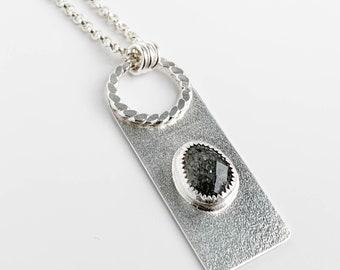 Midnight Quartzite Rectangle Necklace