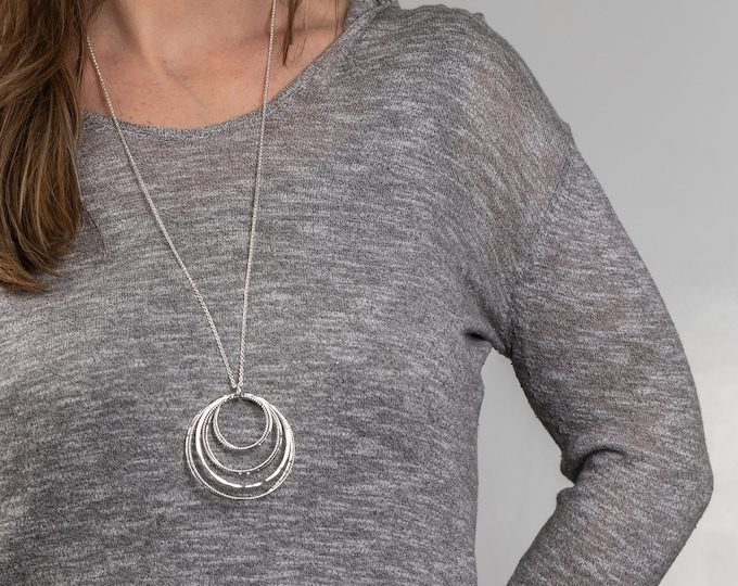 Cluster of Circles Long Necklace