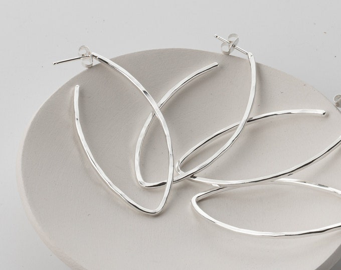 Two Inch Sterling Silver Leaf Hoops