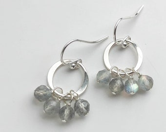 Short Labradorite Cluster Earrings