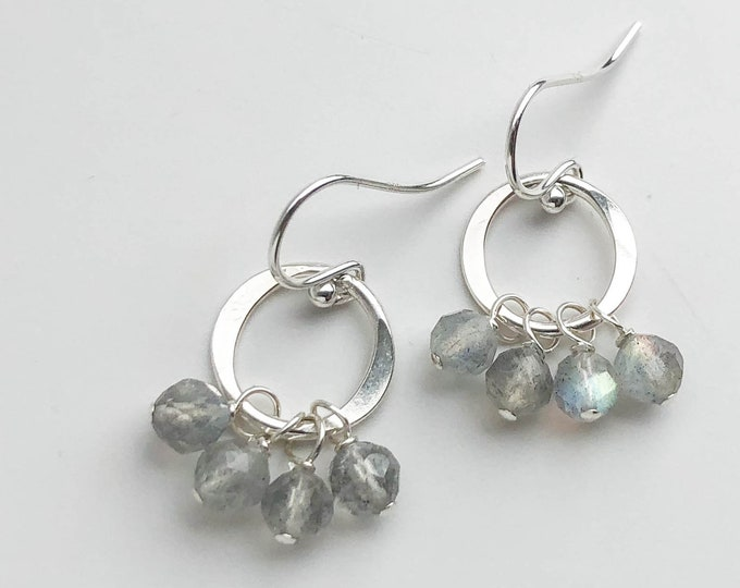 Short Labradorite Cluster Earrings