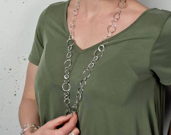 Long Silver Chain Necklace with Coin Pearl