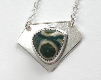 Ocean Jasper Diamond Shaped Pendant Necklace