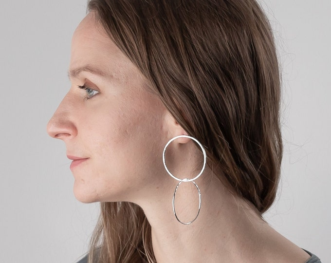 Double Circle Drop Statement Earrings