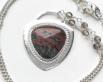 Ocean Jasper and Sterling Silver Pendant Necklace