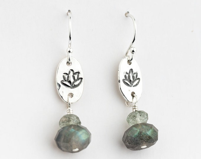 Labradorite Earrings with Hand Stamped Lotus Flower