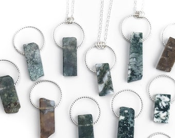 Moss Agate Pendant Necklace