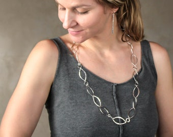 Long Handmade Sterling Silver Chain