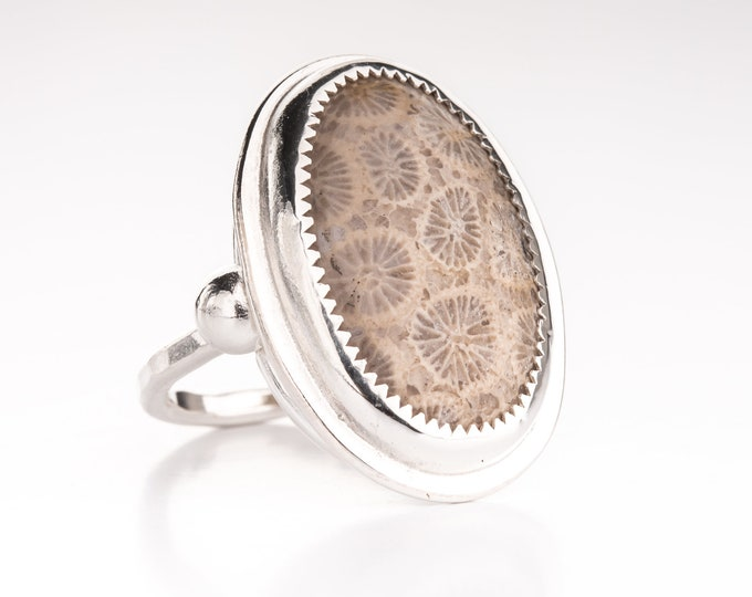 Fossilized Coral Size 6.5 Ring