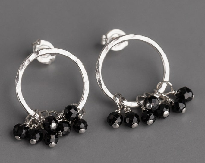 Open Circle Post Earrings With Black Spinel