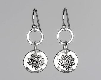Stamped Lotus Earrings