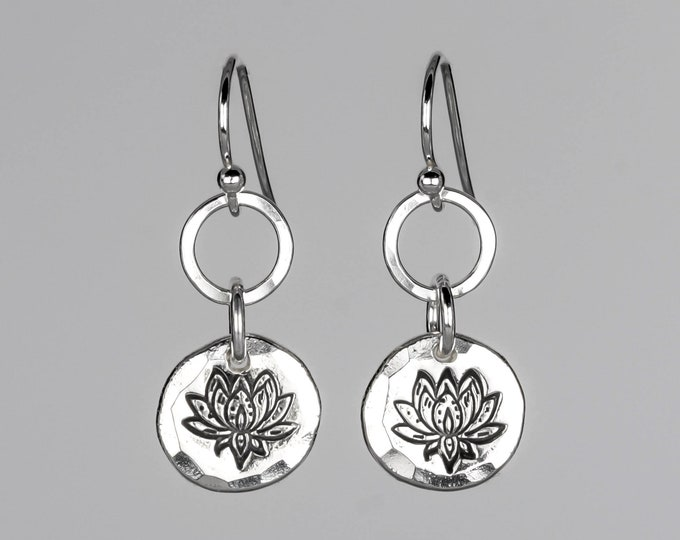 Stamped Lotus Earrings
