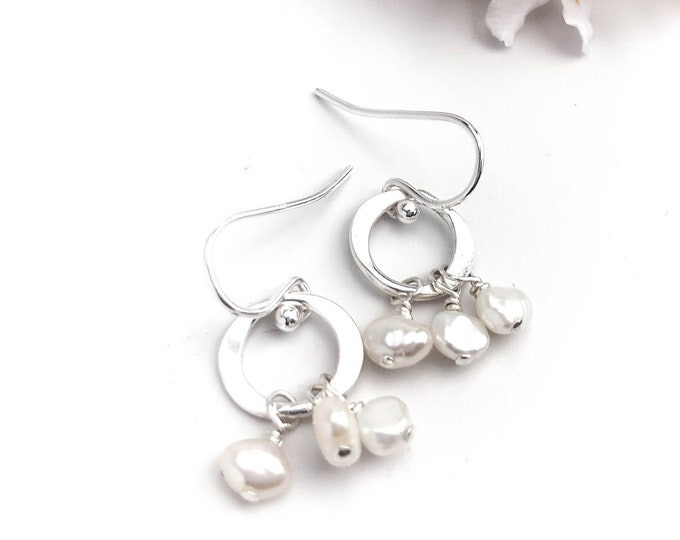 Small Hoop Dangling Pearl Earrings
