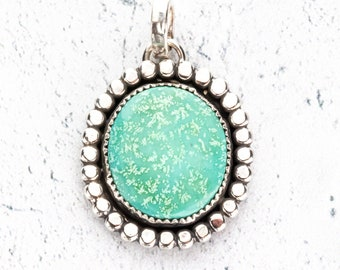 Turquoise and Sterling Silver Pendant - American Mined Turquoise Stones Bezel Set in Sterling Silver with a Bead Border