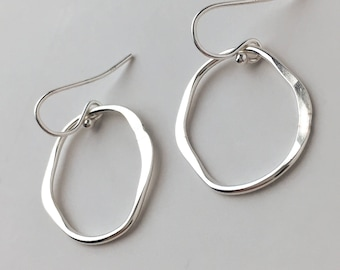 Simple Sterling Silver Organic Shaped Hoop Drop Earrings - Short Nickel Free Silver Dangle Earrings - Hammered Silver Everyday Jewelry