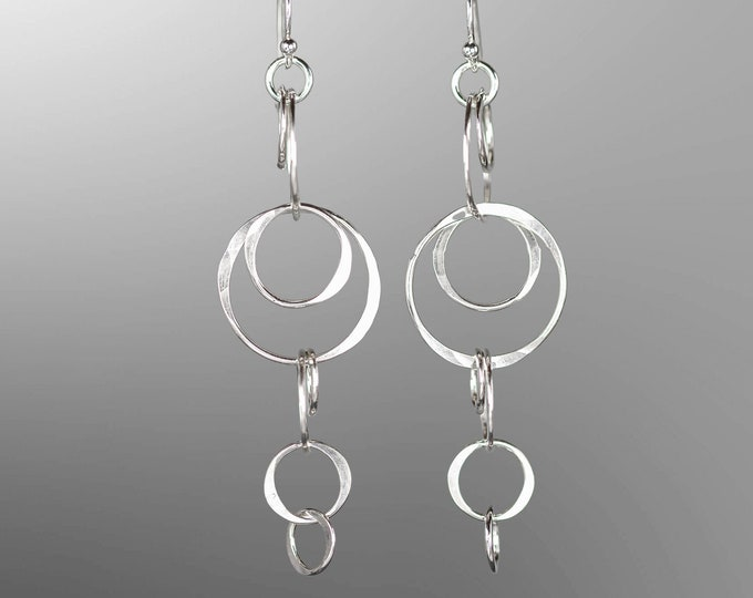 Long Silver Circles Earrings