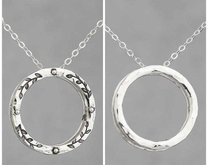 "Reversible Silver Circle 1"" Pendant"