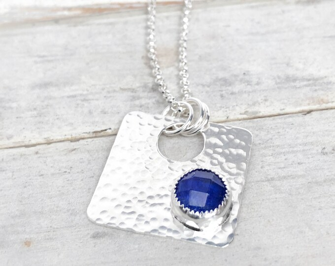 Lapis Doublet Square Pendant Necklace