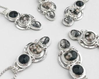 Onyx, Ocean Jasper and Tourmalinated Quartz Necklace