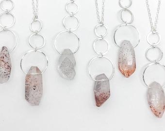 Strawberry Quartz Crystal Pendant Necklace