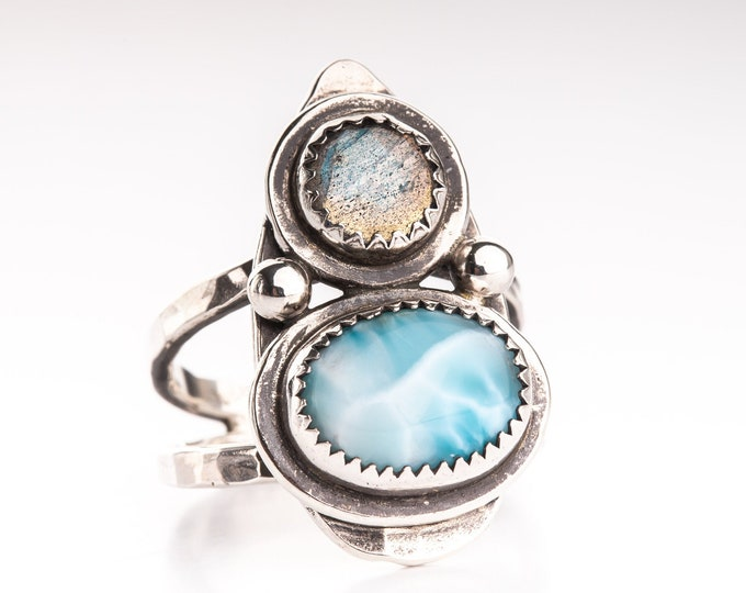 Larimar and Labradorite Size 7.5 Ring