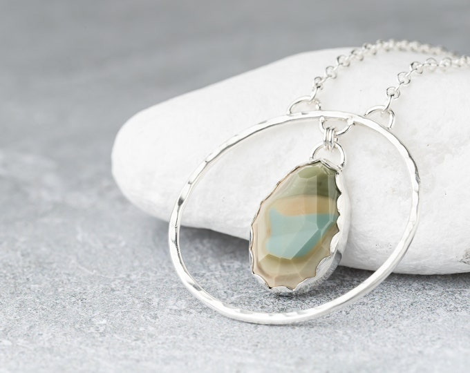 Imperial Jasper and Hammered Circle Long Necklace