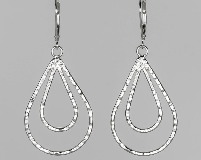 Double Hammered Teardrop Earrings