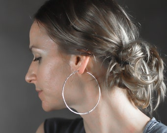"3"" Sterling Silver Hoop Earrings"