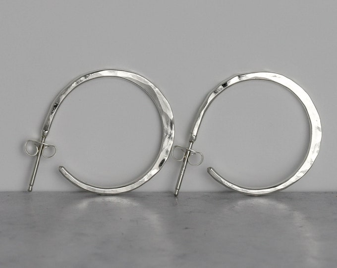 "1"" Hammered Sterling Silver Hoops"