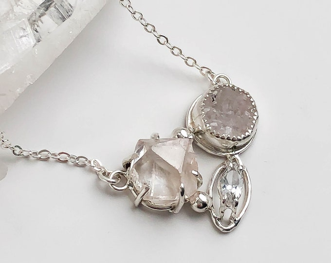 Topaz and Drusy Cluster Necklace