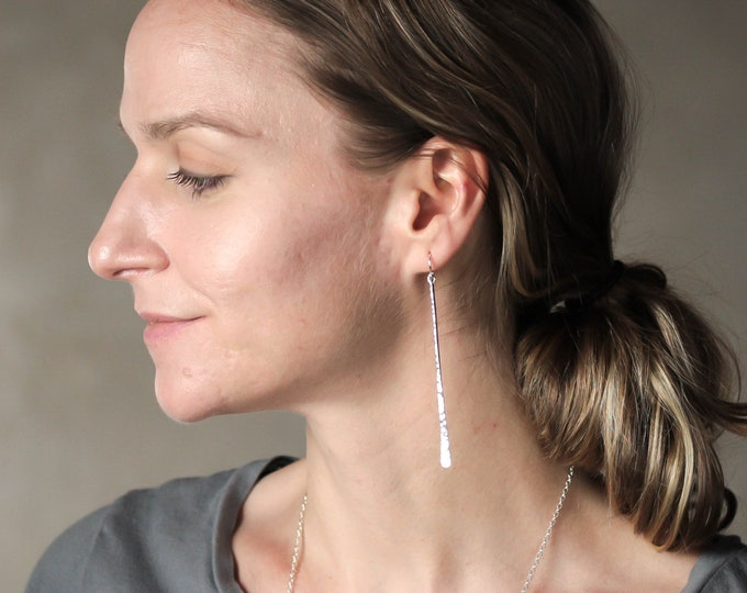 Three Inch Hammered Silver Stick Earrings
