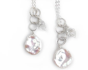 Keishi Pearl and Herkimer Diamond Pendant Necklace