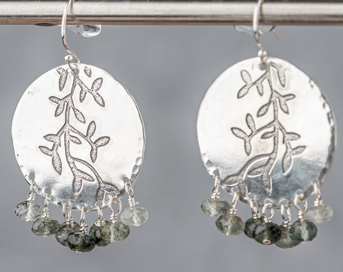 Sterling Silver Disc Earrings with Rutilated Quartz Dangles