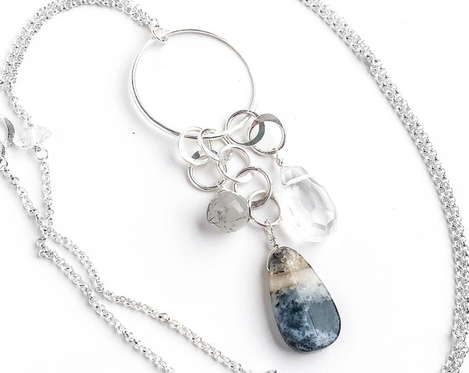 Gemstone Cluster Long Necklace