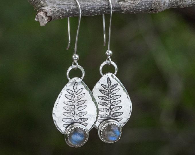 Labradorite and Sterling Silver Teardrop Dangle Earrings with Embossed Fern