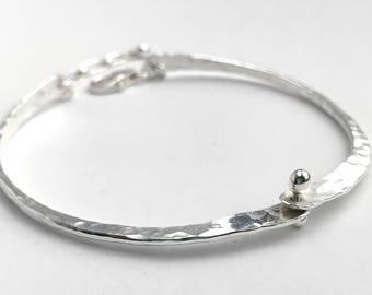 Hammered Silver Hinged Bracelet