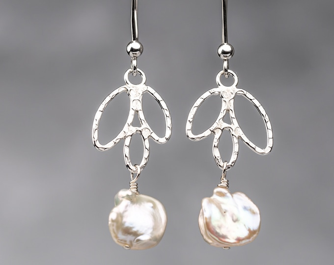 Sterling Silver Leaf Dangle Earrings With Freshwater Pearls